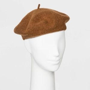 A New Day Wool Blend Knit Beret Hat in Camel NWT